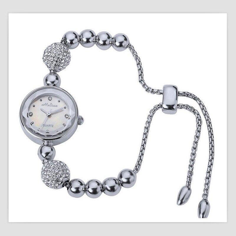 Melissa Marque Femmes De Luxe Bijoux Montres Mignon Perles Infinity Bracelet Montre Boule de Cristal Fine Montre-Bracelet À Quartz Montre Femme