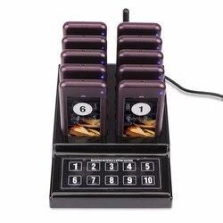 Restaurante Pager inalámbrico camarero Paging sistema de llamada zumbador cuestionario 1 transmisor de teclado + 10 Pager para Cafe Church