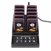 Restaurant Pager Wireless Waiter Paging Queuing Calling System Buzzer Quiz With 1 Keypad Transmitter 10 Pager