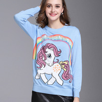 2018 Autumn Winter New Style Rainbow Unicorn Blue Full Sleeve Loose Pullovers Wool Sweet O Neck Comfortable High Quality Sweater