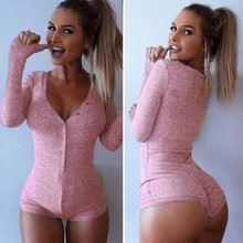256808a5e5e6 Womens V Neck Bodysuit Stretch Long Sleeve Jumpsuit Shorts Pants Playsuit  Slim Short Cotton Knitted Long