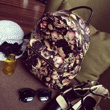 Vintage rose print double-shoulder the trend of female bags fashion preppy style travel handbags totes