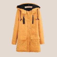 Осень и Зима женщин Вскользь Тонкий Моды длинные участки теплый хлопок куртка шляпа карман застегнутом Троса пальто куртки