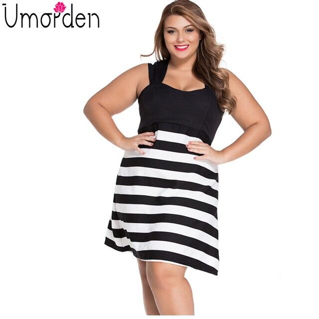 US $24.99  2017 Black White Striped Skater Dress Plus Size Big Girl A Line  Back Zipper Mini Elegant Casual Large Big Size Dress Vestidos-in Dresses ...