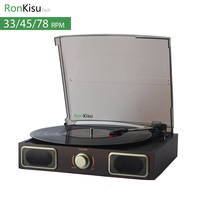 Classic 3 Speed Turntable With Stereo Speaker Vinyl Records Player AUX Output Enjoy Original True Music