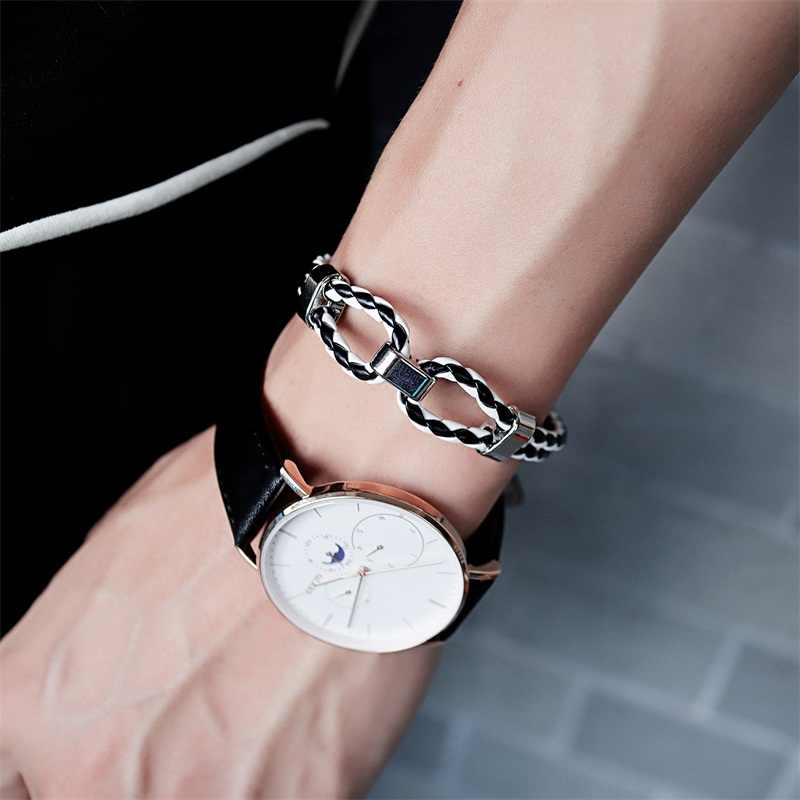 AZIZ BEKKAOUI Black Genuine Leather Bracelet Men Bangle Fashion New Stainless Steel Men Jewelry Rock Leather Men's Bracelets