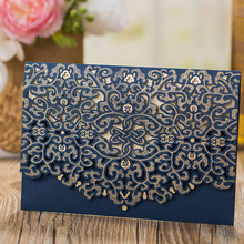 50pcs Blue Laser Cut Luxury Flora Wedding Invitation Card Elegant Lace Favor with Envelopes Birthday Party Decoration