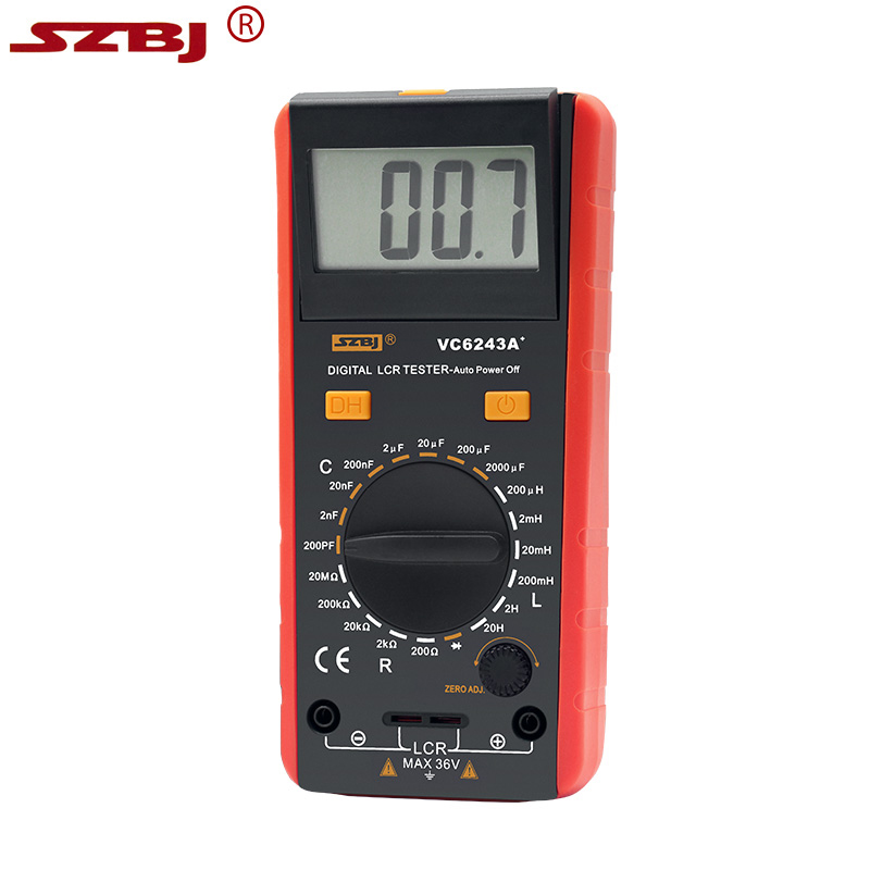 SZBJ VC6243A Digital LCD Meter Inductance Capacitance Resistance Tester Multimeter Crocodile Clip Measuring Tool with Bag BM4070