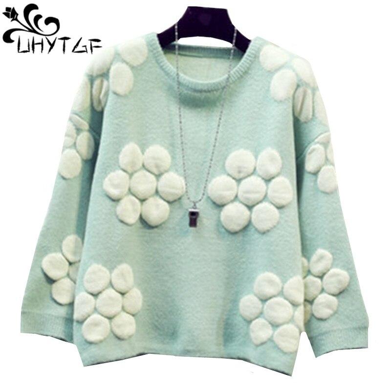 UHYTGF зима Для женщин свитер Knitt Топ 2018 Большие размеры короткие свитер милый пуловер для девочек Harajuku Свободные Сладкий Студенческая куртка