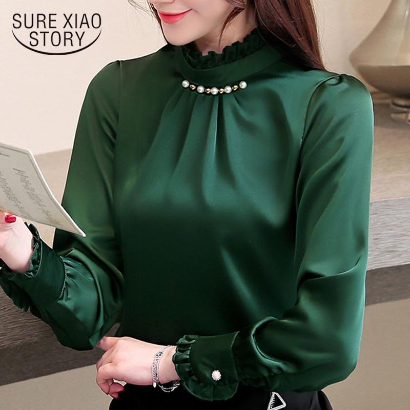 womens tops and blouses long sleeve women shirts chiffon blouse shirt fashion beading stand collar office blouse women 3090 50