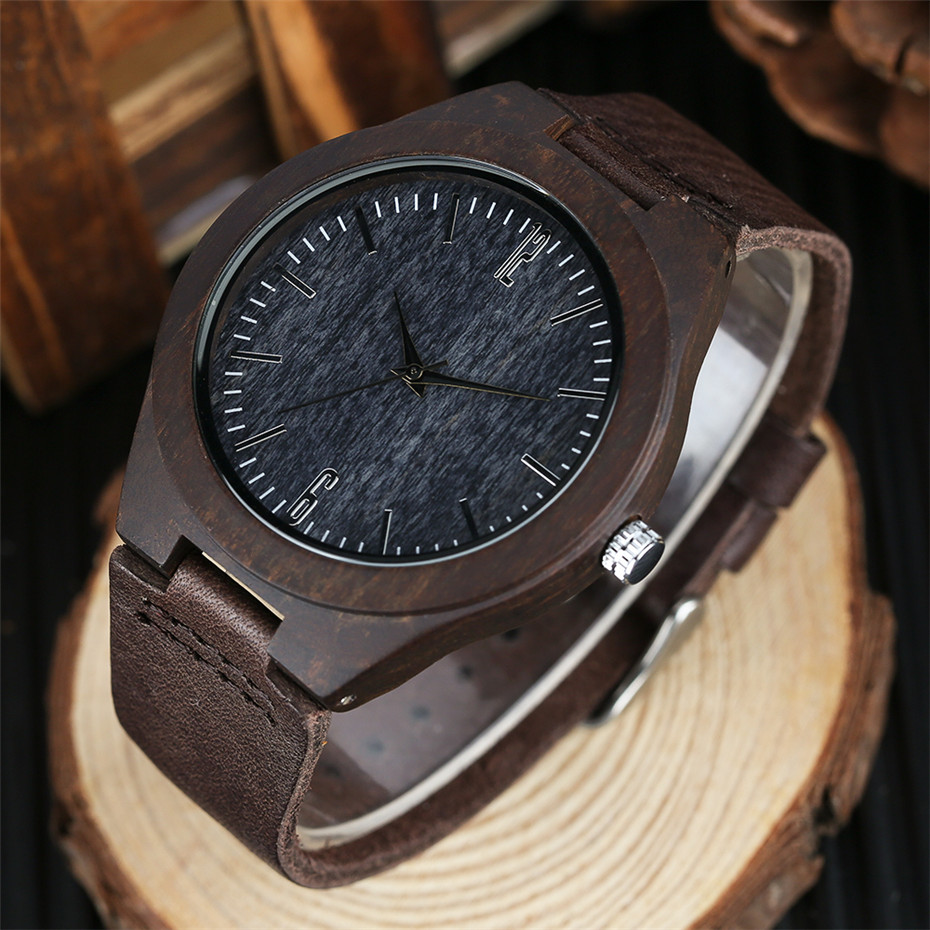 coffee color wood watch casual men08