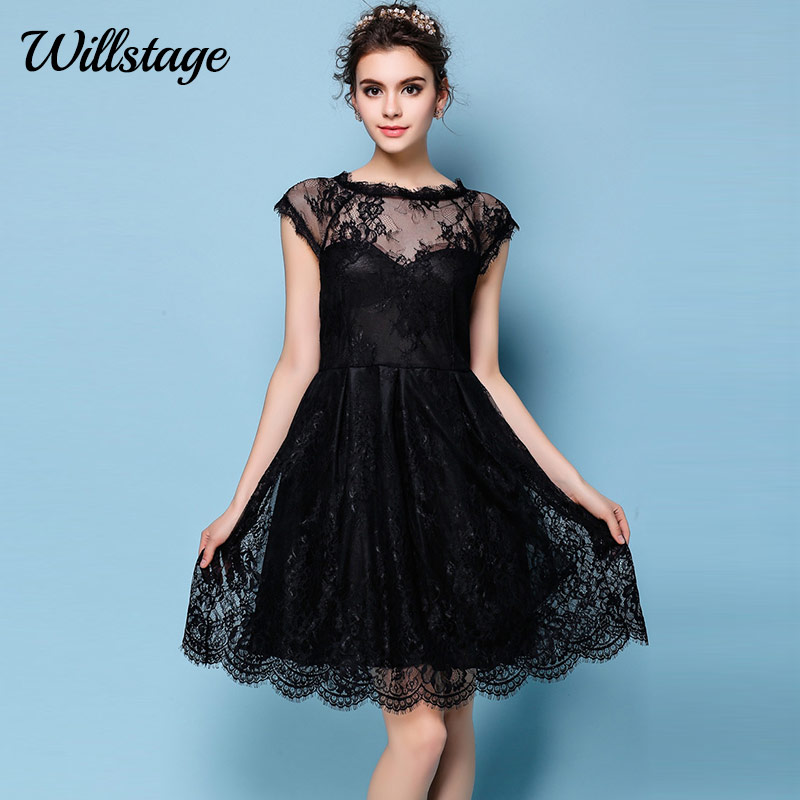 Willstage 2018 Summer little black Dress Lace short sleeve Mesh Backless hollow  out Party Women Dresses Elegant Floral clothing 83af7db3aaee