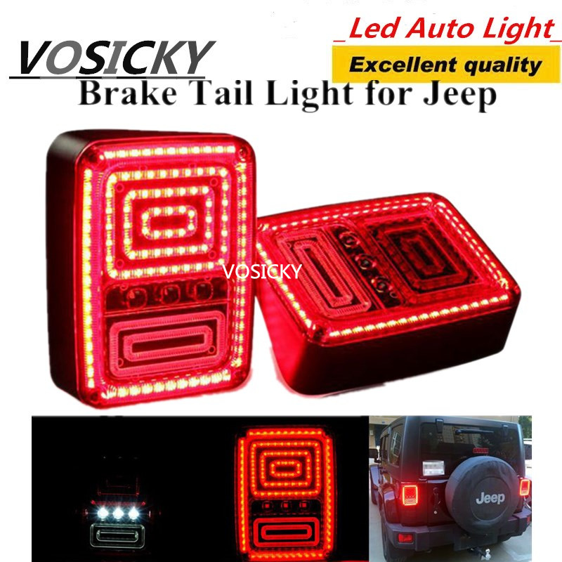 VOSICKY Led Taillights for Jeep Wrangler JK 2007~2015 wrangler Tail lamps auto accessories auto parts left hand a pillar swith panel pod kit with 4 led switch for jeep wrangler 2007 2015