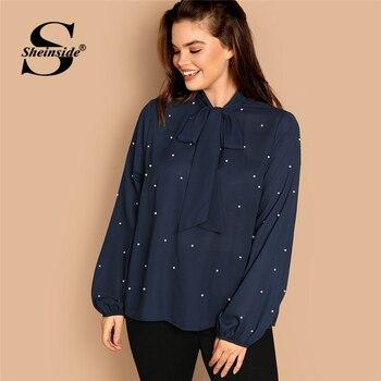 ee5f59f2d Sheinside azul marino más el tamaño del lazo del cuello de la perla  embellecido Top blusa elegante ...