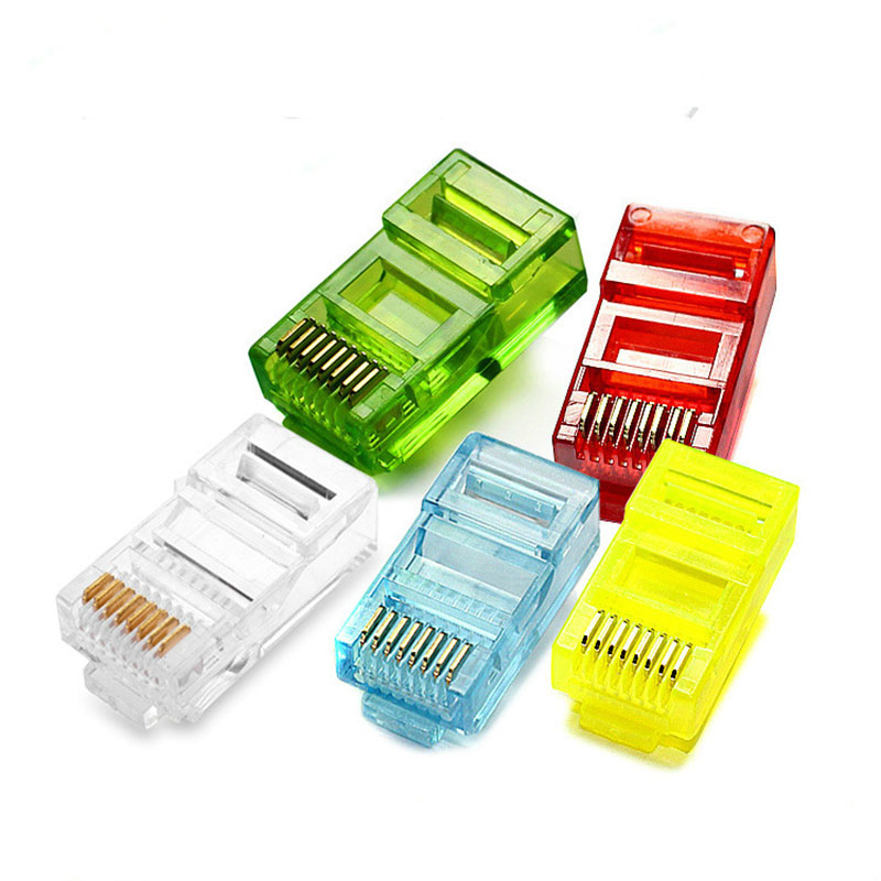 20/50/100PCS  RJ45 Ethernet Cables Module Plug Network Connector RJ 45 Crystal Heads Cat5 Color Gold Plated Cable-in Computer Cables & Connectors from Computer & Office