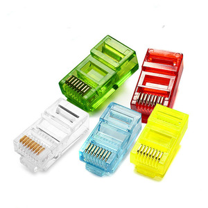 Image 1 - 20/50/100PCS  RJ45 Ethernet Cables Module Plug Network Connector RJ 45 Crystal Heads Cat5 Color Gold Plated Cable