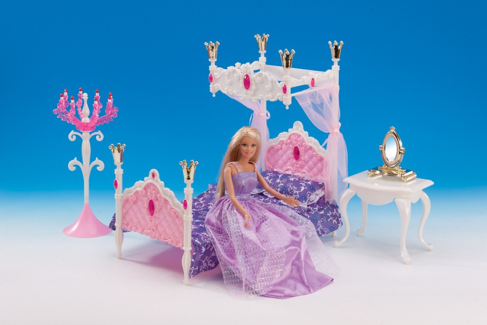Free Transport,pink mattress dresser desk doll bed room for barbie doll,doll furnishings doll equipment for barbie