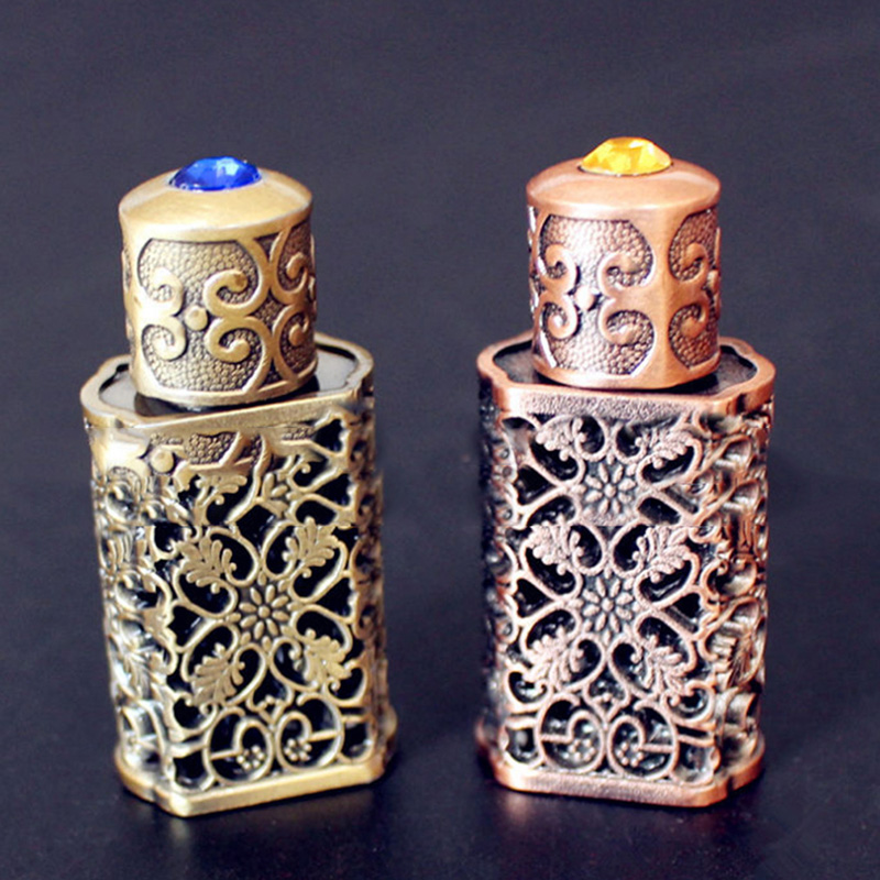 3ml Retro Metal Perfume Bottle Arabian Style Essential Oil Bottle Container Royal Glass Bottle Wedding Party Decoration Hot Sale