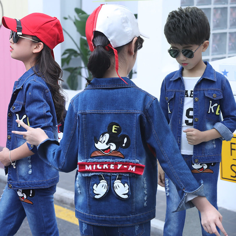 suits toddler clothes boys sets girls outfits boutique mickey Denim cartoon coat jeans girls clothing set casual cotton children new 2017 spring boys outfits casual clothes sets cartoon baby kids pattern costumes suits cotton children clothing j1 cc228