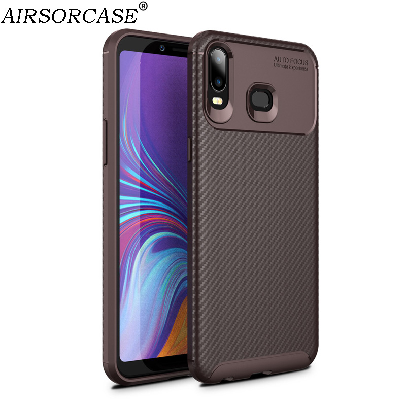 6.0'' for Samsung Galaxy A6s Case Carbon fiber texture Phone Cases for Galaxy A6s Case Soft TPU Back Cover Protective Shell