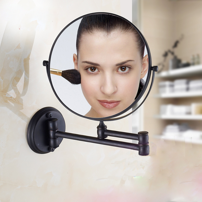 Free Shipping European Style 8 inches Double Side Oil Rubbed Bronze Folding Bathroom Mirror 2 Face Makeup Mirror 1:3 Magnifying large 8 inch fashion high definition desktop makeup mirror 2 face metal bathroom mirror 3x magnifying round pin 360 rotating