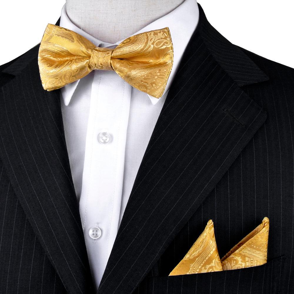 Paisley květinový žlutý předvazený zlatý smoking motýlek pro muže 100% hedvábné kapesníky nastavitelný módní ležérní party svatba