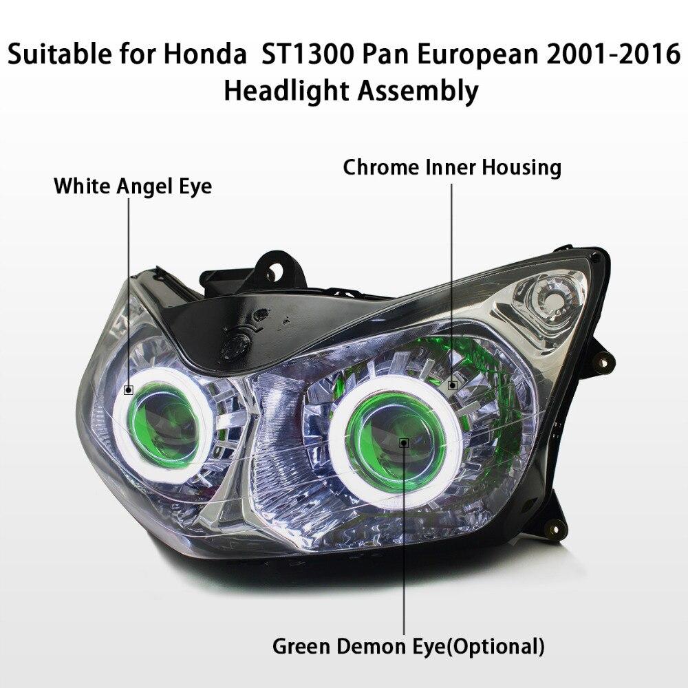 Aliexpress com buy kt headlight for honda st1300 pan european 2001 2016 led angel eye green demon eye motorcycle hid projector assembly 14 13 12 11 from
