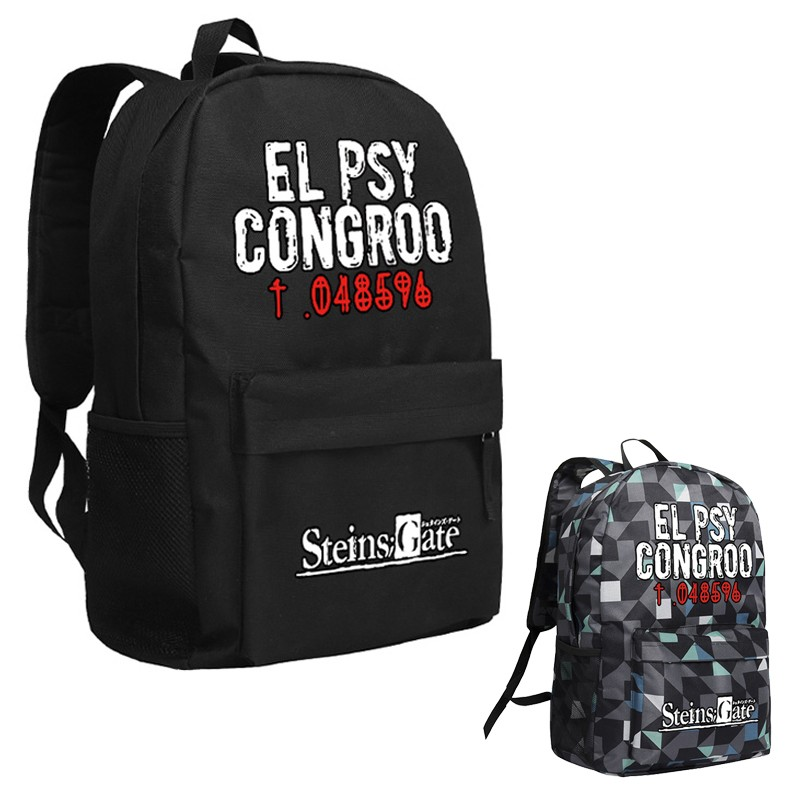 MeanCat Steins Gate Rucksack El PSY Congroo School Bags for Teenage Girls and Boys