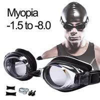 Schwimmen Brille Myopie Professionelle Anti-fog UV Schwimmen Gläser Männer Frauen Silikon Dioptrien Schwimmen Sport Brillen Optional Fall