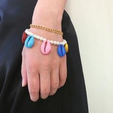 Fashion Summer Shell Pearl Rope Bracelets for Women Gold Cowrie Bracelet Conch Chain Seashell Charm femme pulseras