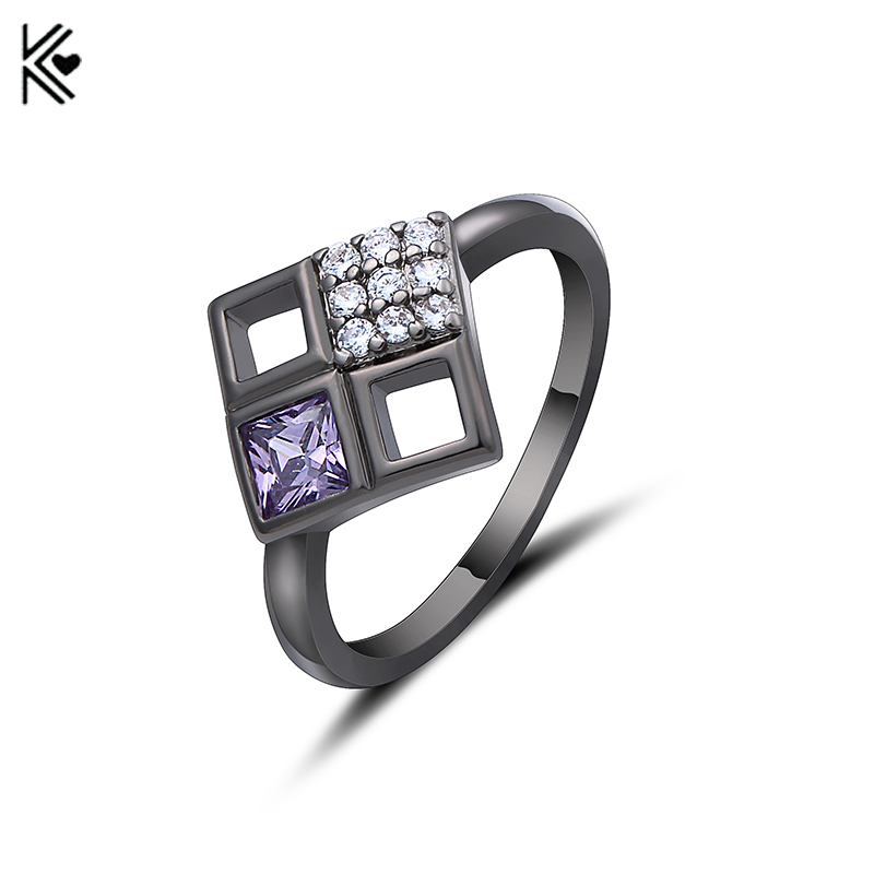 Female Hollow Rhombus Ring Black Gold Filled Cubic Zirconia Finger Ring for Women Engagement Fashion Jewelry Valentine's Day