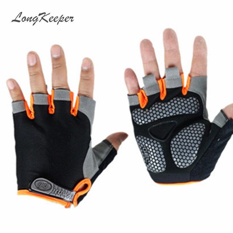 LongKeeper Non-Slip Fingerless Gloves Men Women Half Finger With Gel Padded Lycra Work Out Mittens Guantes Mujer SXJ112/25
