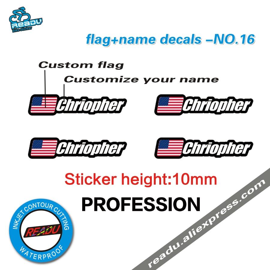 Flag and name sticker mountain bike frame logo personal name decals custom rider ID sticker NO.16