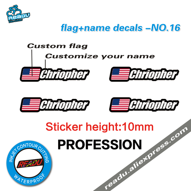 Flag and name sticker mountain bike frame logo personal name decals custom rider id sticker no