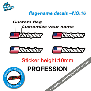 Flaga i nazwa naklejki rama roweru górskiego logo imię i nazwisko naklejki niestandardowe naklejki ID kierowcy nr 16 tanie i dobre opinie READU height 10mm 0 14mm 4pcs