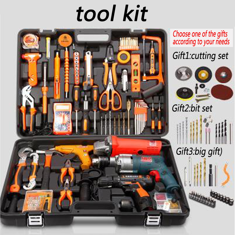 1pc Household tools package Hardware set Electric drill home electrician maintenance Multi-functional portable hardware tool 88pcs 500w impact electric drill household utility tool set multi functional hardware maintenance toolbox repair tool