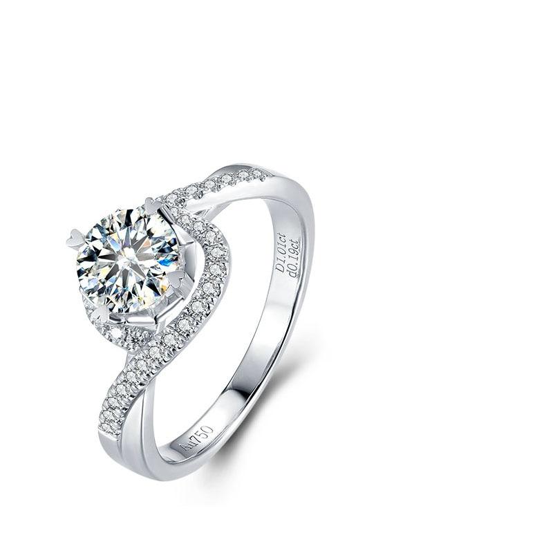 6.5mm 1.0ct Round Cut Moissanite Diamond Ring Swirl Frame Bypass Engagement Ring 14K White Gold