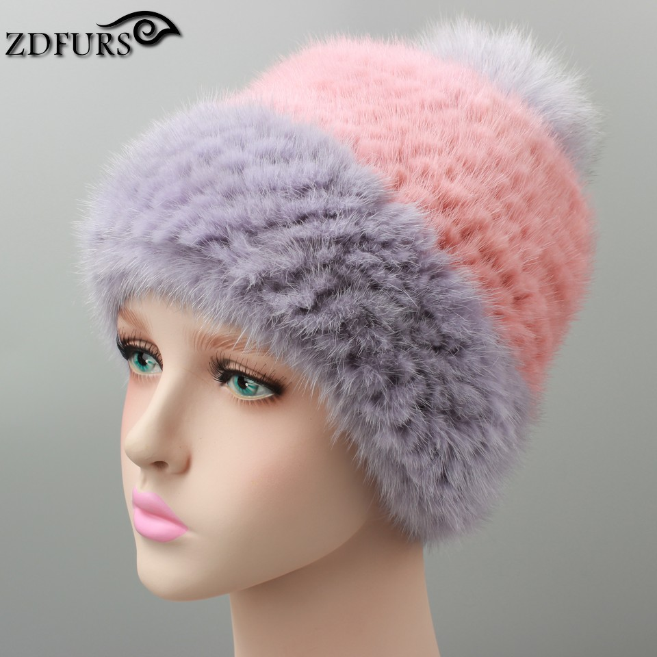 Glaforny Women's Fur Hats Real Fur Caps Snapback Large Fox Ball Thick Knitted Fur Hat Beanies Russian Style 3 Colors in Stock