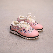 2017 Spring Children genuine leather shoes kids leisure sport shoes princess rhinestone girls sneakers