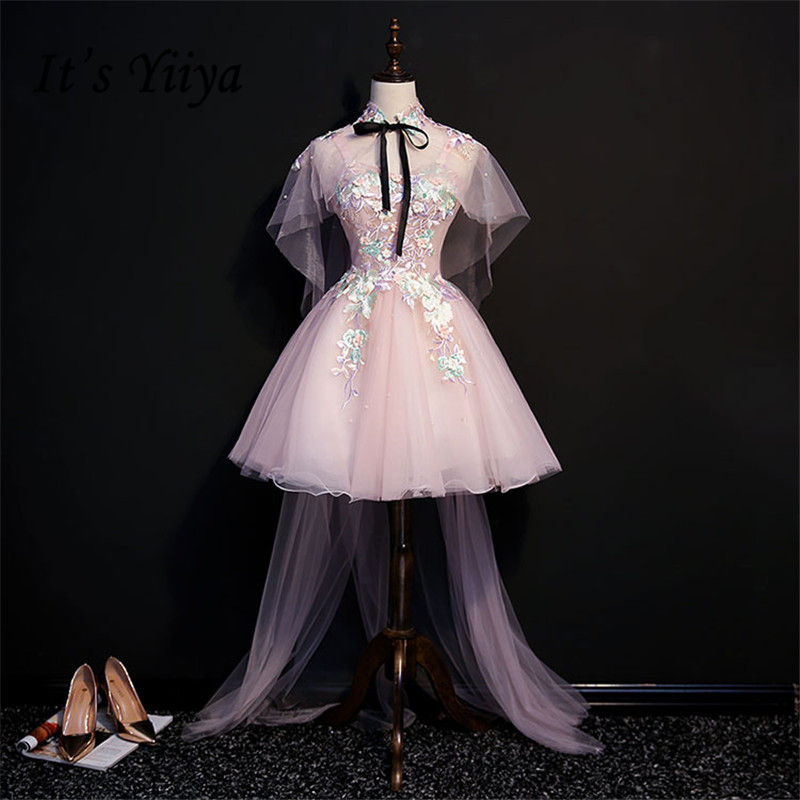 It's YiiYa   Cocktail     Dress   Pink Spaghetti Strap Appliques Beading Shawl A-line Mini Party Gown Elegant Bow Lace Up Frocks MN055