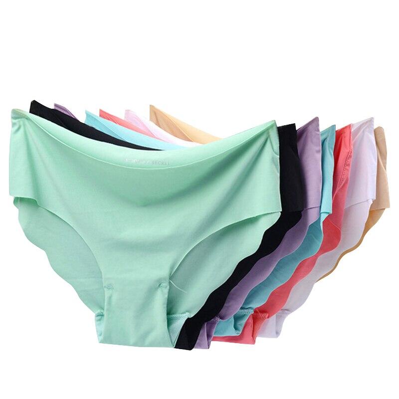 256ca2319e44 3 piunids/lote bragas sexis para mujer conjunto de bragas sin costuras  Lencería sólida media cintura algodón Panty ropa interior femenina # F