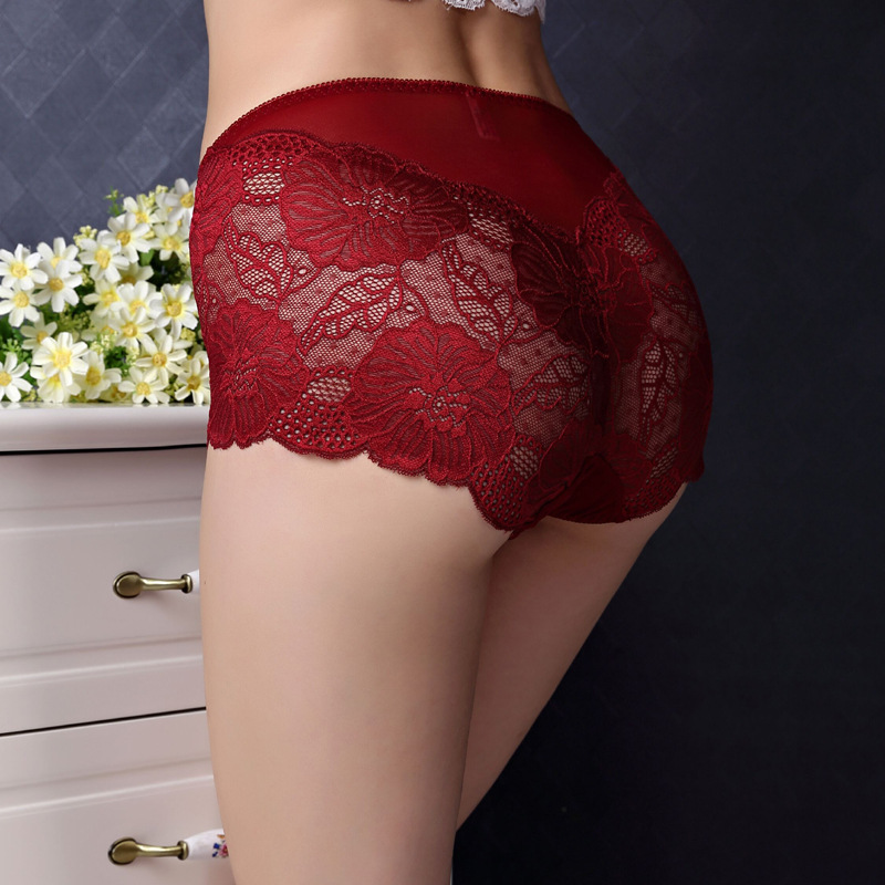 Buy AS41 Soft  Briefs Sexy Lingerie Women's Panties Full Transparent Floral Lace Seamless Plus Size Women Underwear