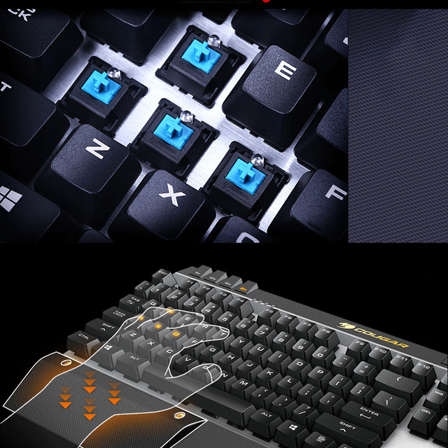 Cougar 600K Professional Gaming Esport Cherry MX Mechanical Keyboard Blue Switch 6 Programmable Keys LED Backlit USB for LOL CF