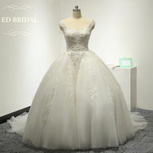 Cap Sleeves Ball Gown Wedding Dress with Beaded Lace Appliques Wedding Gown robe de mariee vestido noiva