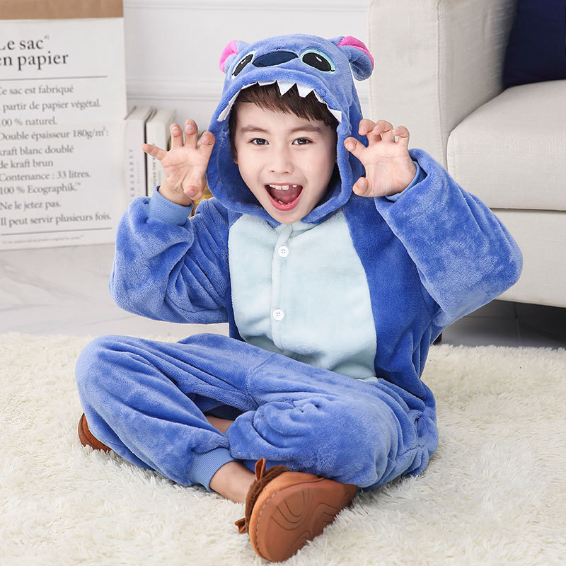 Pijama Infantil Onesie Hooded Kids Animal Cartoon Pajama Blue Pink Stitch Children Boy Girl Unisex Pyjama