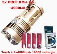 WasaFire SKY RAY King 4000 Lumen 3 x XML T6 LED Flashlight Torch Camp 30W Lamp Light + 4 * 18650 4000mah Battery + Charger