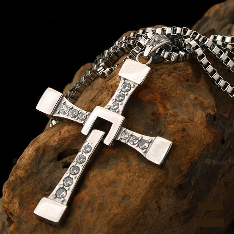The Fast and The Furious Dominic Toretto Necklace Titanium Steel Men's Cross Pendant Jewelry Gift Romantic For Wedding Party