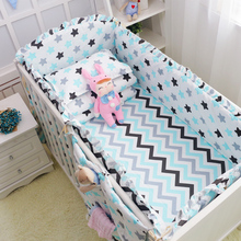 6Pcs Baby crib bedding Bumpers Cartoon Baby Bedding Bed Around Package Bed Sheets 100%Cotton Thickening Beautiful Crib Bumper