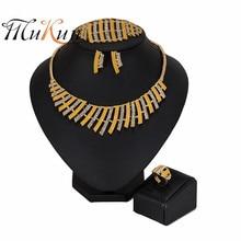 MUKUN 2019 Bridal Gift Nigerian Wedding Brand Fashion African Beads Brand Jewelry Set Dubai Gold ColorJewelry Set Women customer aczuv brand african orange beads jewelry set for women ladies nigerian wedding accessories as019