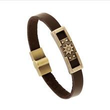 KYSZDL Geometry Hollow Leather Bracelet Brown Charm Bracelets Men Jewelry Magnet Clasp & Bangles 2017 Christmas Gift